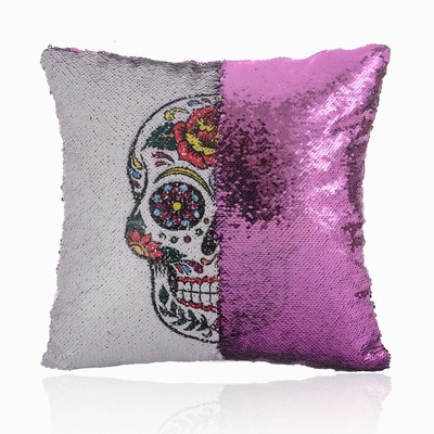 Skull Shaped Sequin Magic Pillow Festival Gift