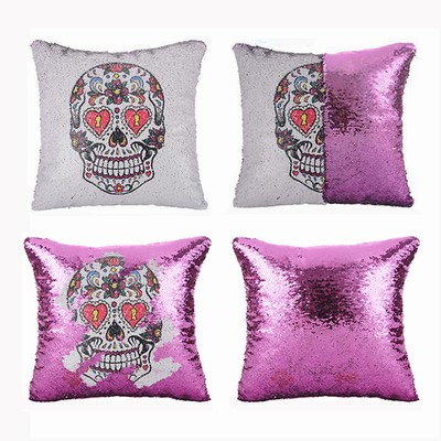 Sequin Pillow Sugar Skull Holiday Gift For Resale