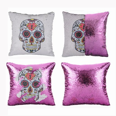 Brand New Sequin Magic Pillow Skull Fest Gift
