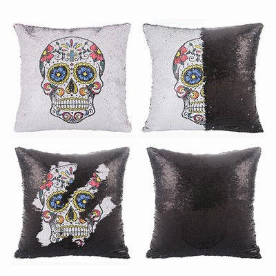 Skull And Roses Sequin Pillow Sepical Gift