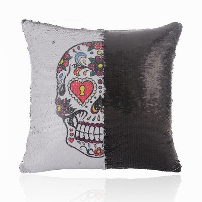Sequin Pillow Skull Head Handmade Gift