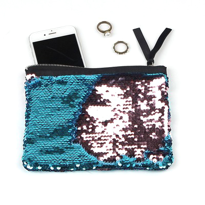 Cute Sequin Makeup Bag Light Blue Wine Special offer