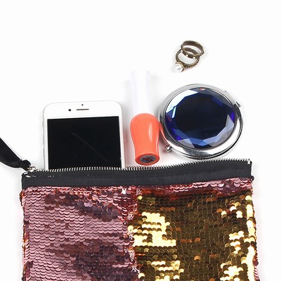 Wholesale Glitter Large Sequin Pouch Wine Gold