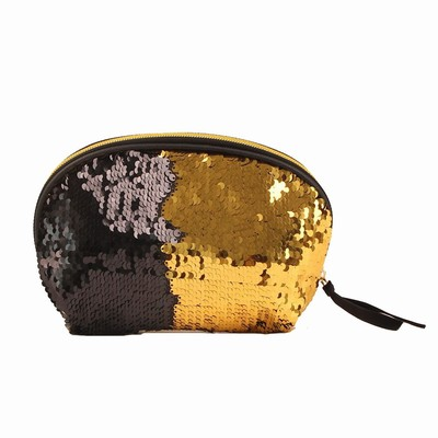 Glitter Sequin Purse Shell Sharp Black Rose Gold