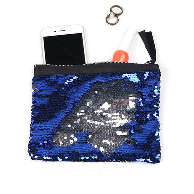 New Sequin Cosmetic Bag Online Wholesale Blue Silver