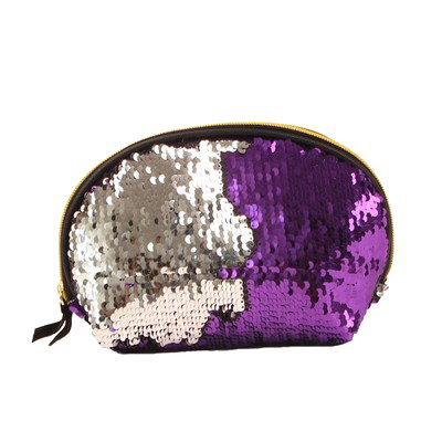 Wholesale Shell Shaped Sequin Clutch Purple Silver