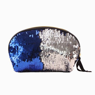 Fashion Shell Zipper Sequin Pouch Blue Silver