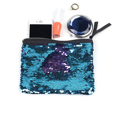 Sequins Pouch Clutch For Women Light Blue Purple