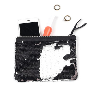 Glitter Sequin Pouch Travel Kits Black White