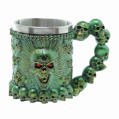 Green Skull Head Red Eye Mug Incredible Gift