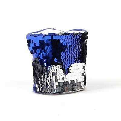 Sequin Wristband For Women Gift Blue Silver Bulk
