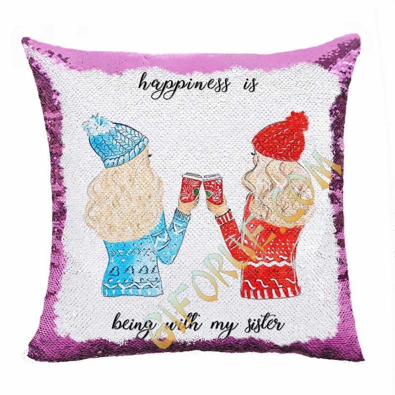 Awesome Personalized Sister Gift Photo Flip Sequin Pillow - Click Image to Close