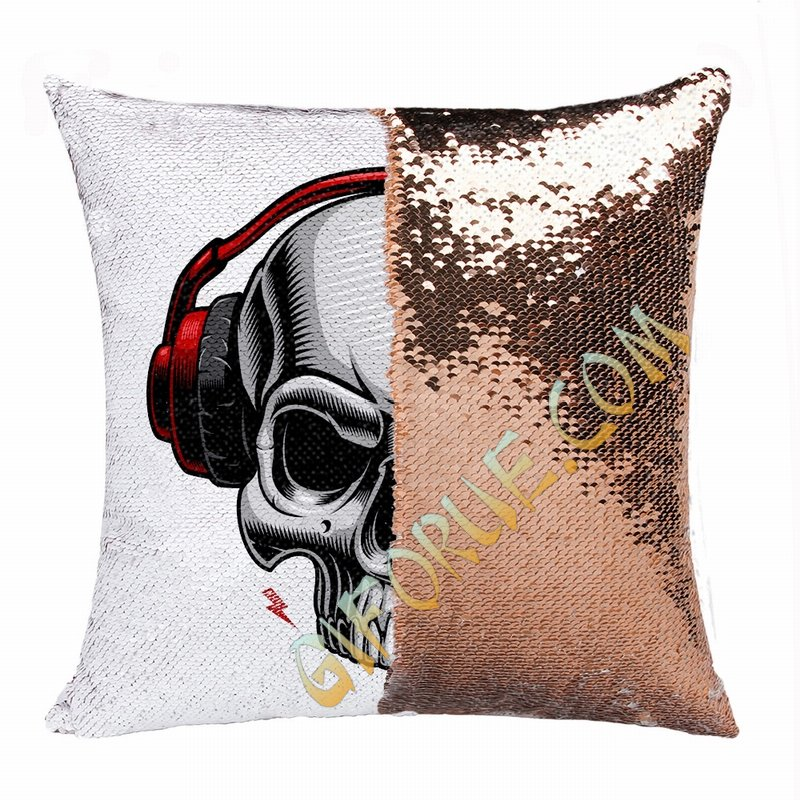 Clever Photo Gift Skull Headset Wholesale Flip Sequin Pillow - Click Image to Close