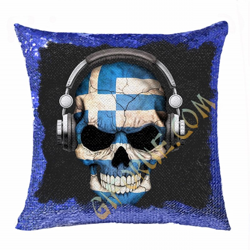 Personalised Photo Sequin Cushion Cover Cool Skull Headpiece - Click Image to Close