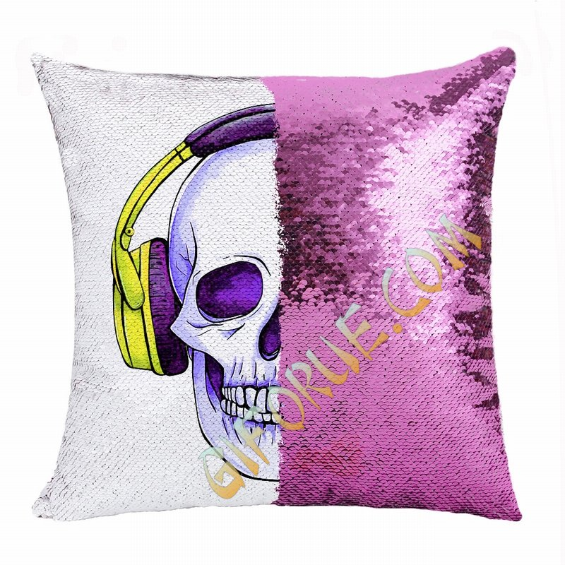Personalised Picture Double Sided Sequin Pillow Skull Manufacturer - Click Image to Close