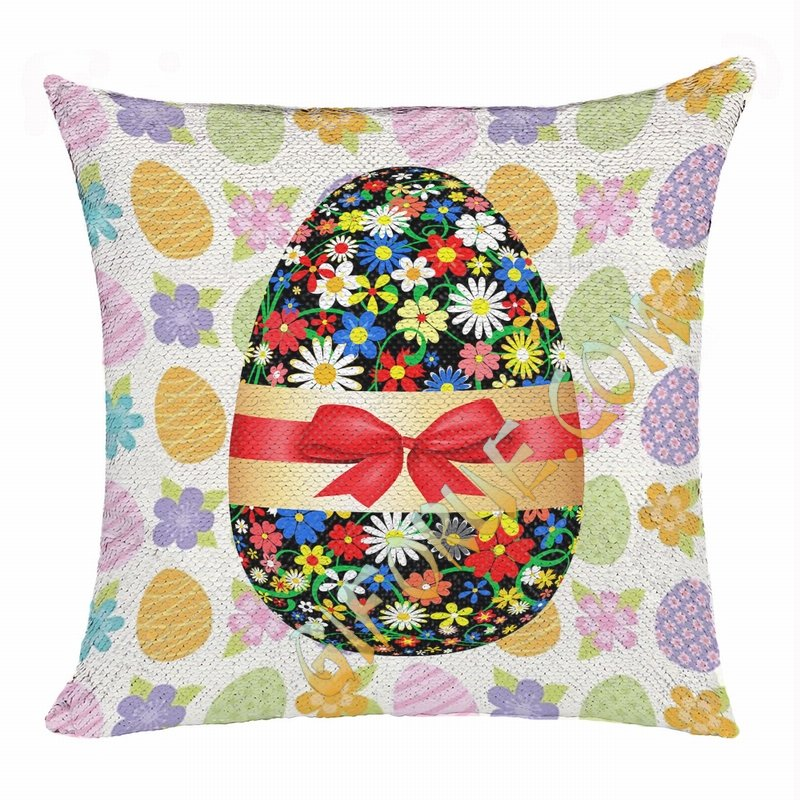 Easter Egg Custom Present For Children Flip Sequin Pillow - Click Image to Close