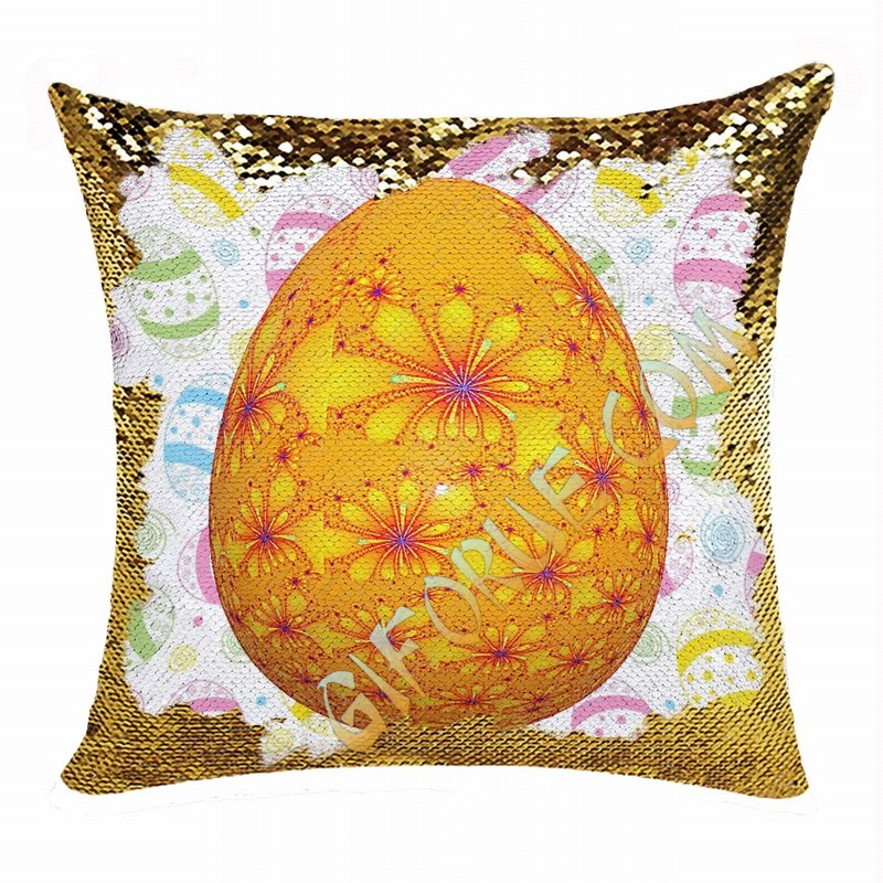 Easter Egg Orange Attractiv Present Sequin Pillow For Friends - Click Image to Close