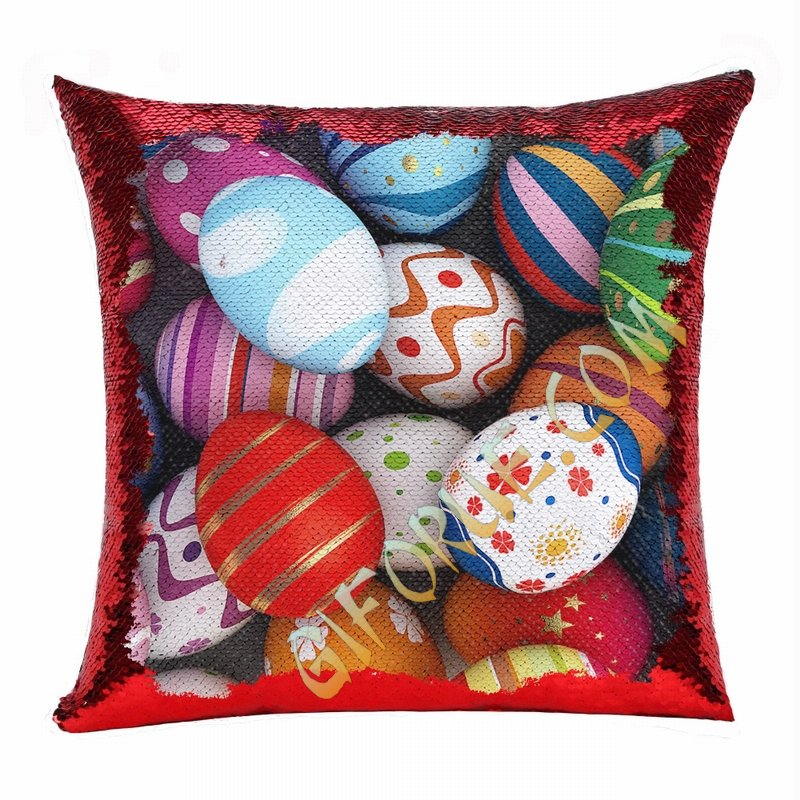 Easter Fashion Present Eggs For Women Sequin Magic Pillow - Click Image to Close