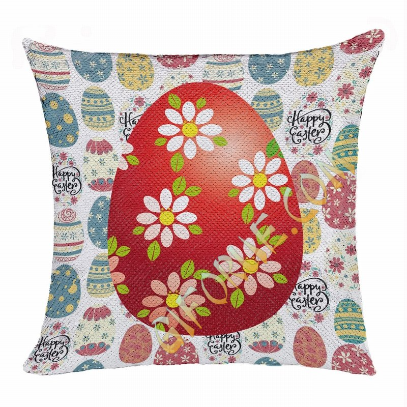 Easter Fashionable Present Photo Gift Red Egg Sequin Pillow - Click Image to Close