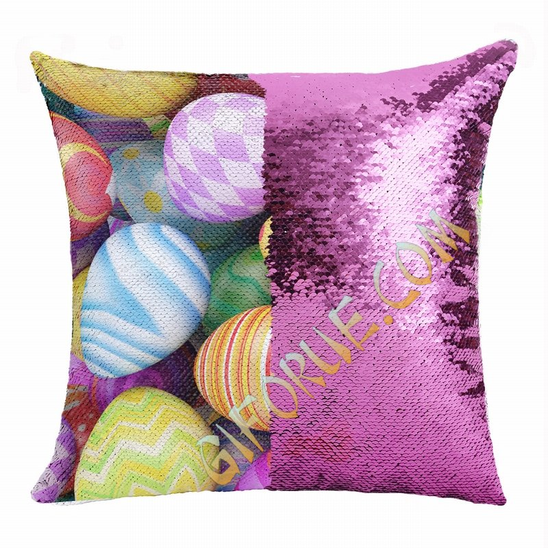Easter Personalized Present Eggs Sequin Cushion Cover - Click Image to Close