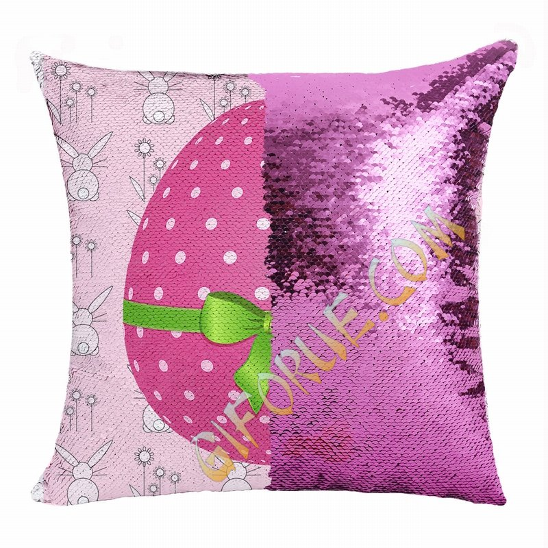 Eastser Pink Egg Wonderful Present Double Sided Sequin Pillow - Click Image to Close