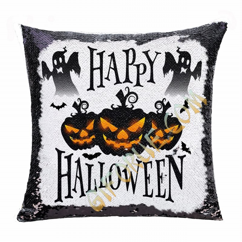 Halloween Gift Black Pumpkin Ghost Personalized Sequin Pillow - Click Image to Close