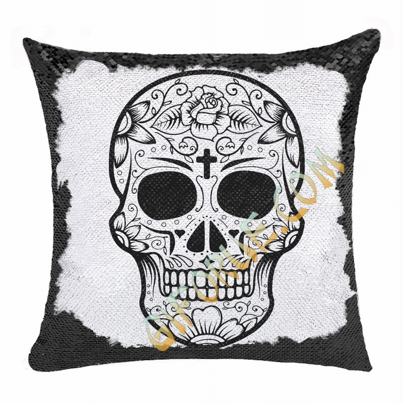 Personalized Skull Cute Custom Gift Black Sequin Cushion Cover - Click Image to Close