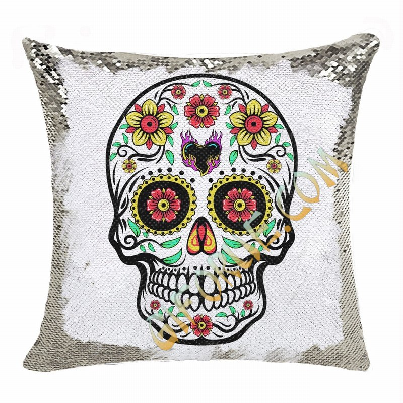 Skull Sequin Cushion Cover Perfect Personalized Present - Click Image to Close