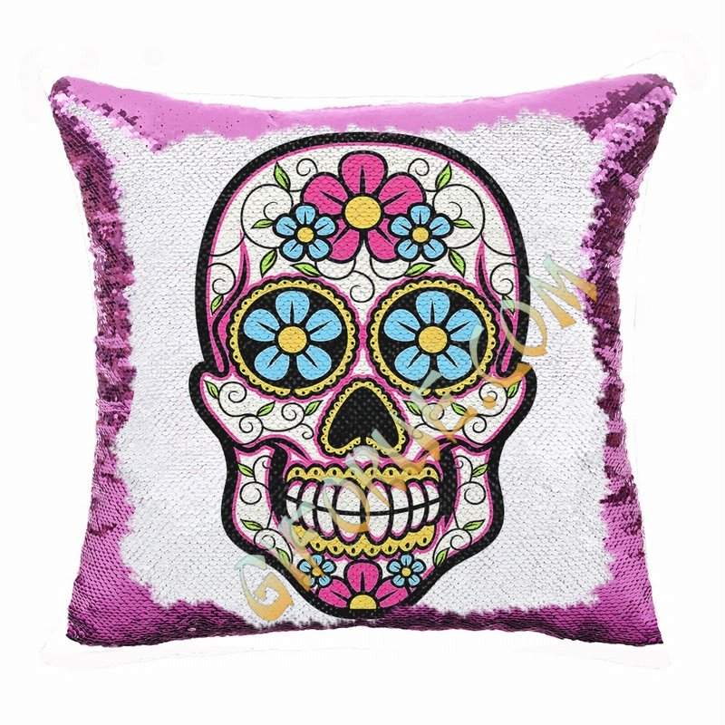 Skull Sequin Pillow Cool Personalized Present For Friends - Click Image to Close