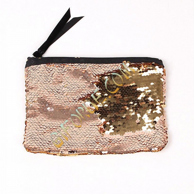 Double-Sides Sequin Clutch Wholesale Price Gold Rose Gold - Click Image to Close