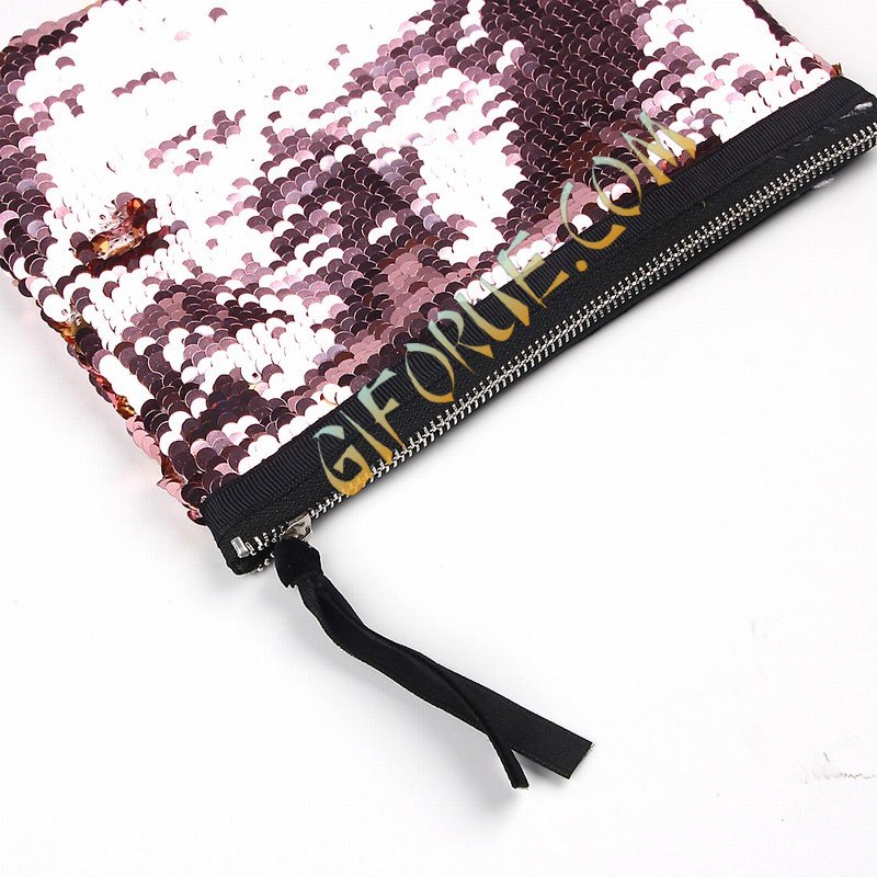 Wholesale Glitter Large Sequin Pouch Wine Gold - Click Image to Close