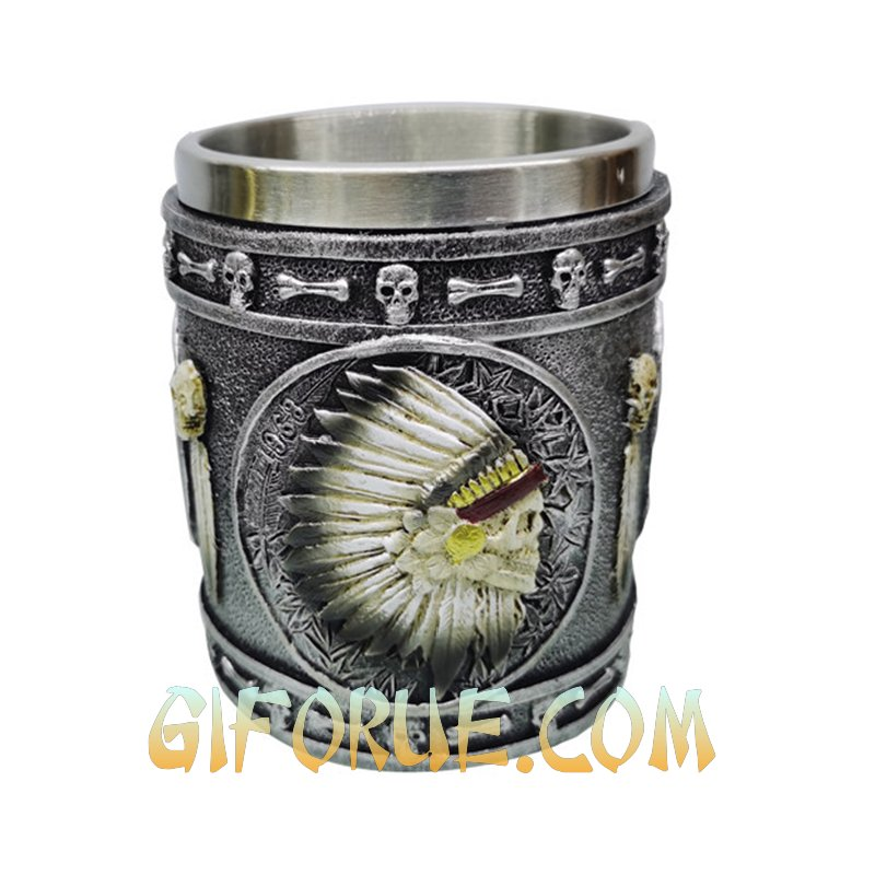 American Indian Skull Head Mug New Design Gift - Click Image to Close