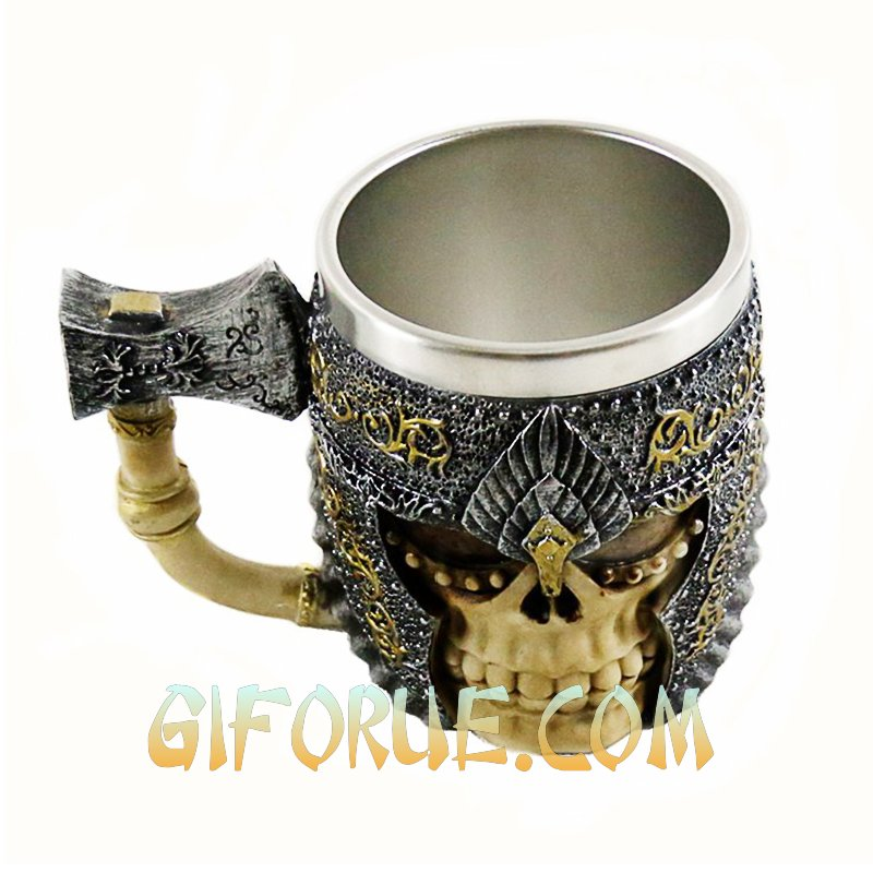 Axe And Helmet Skull Mug Amazing Gift For Club - Click Image to Close