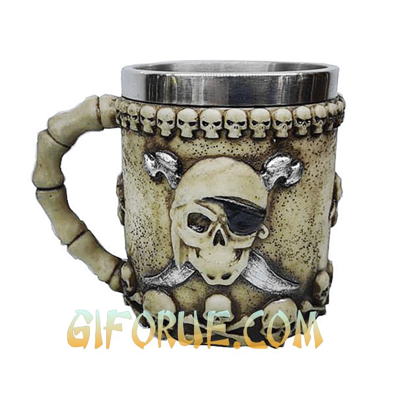 Pirate Skull One Eyed Mug Unique Business Gift - Click Image to Close