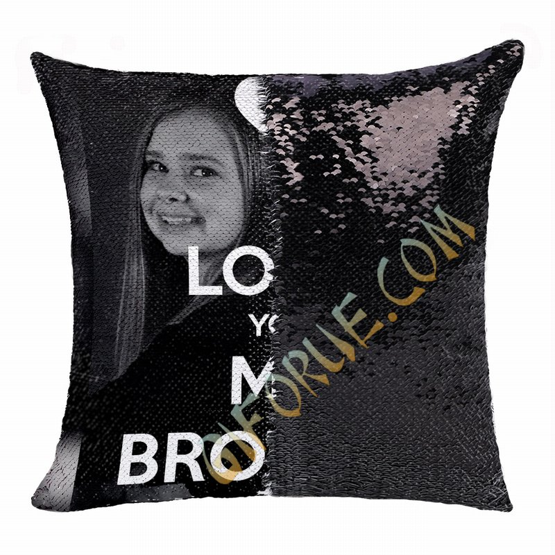 Best Personalized Sequin Pillow Brother Photo Text Gift - Click Image to Close