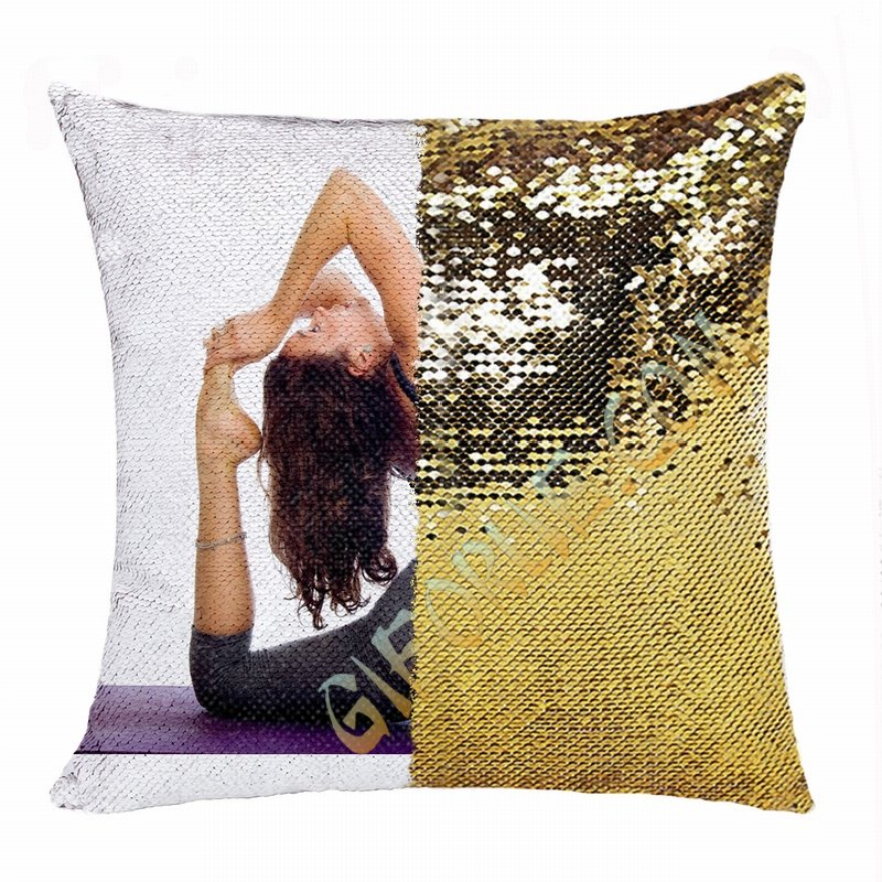 Clever Personalised Flip Sequin Pillow Image Yoga Enthusiast Gift - Click Image to Close
