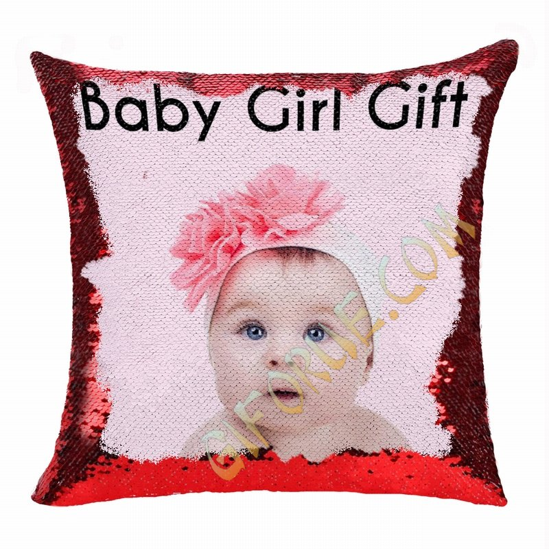 Clever Sequin Pillow Personalized Photo Gift Baby Girl - Click Image to Close