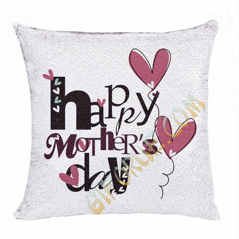 Creative Mother Day Gift Personalised Picture Sequin Cushion Cover - Click Image to Close
