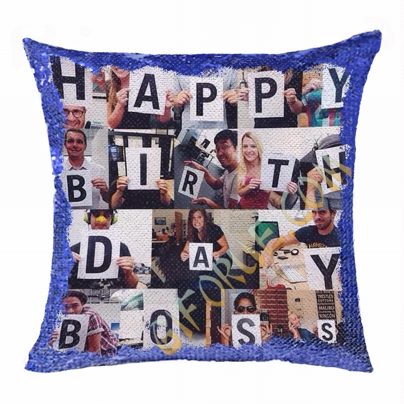 Creative Gift Personalized Photo Sequin Pillow Boss Leader - Click Image to Close
