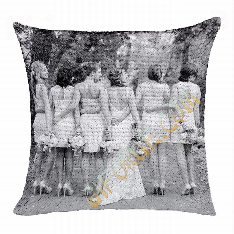 Creative Personalized Sequin Cushion Cover Best Bridesmaid Gift - Click Image to Close