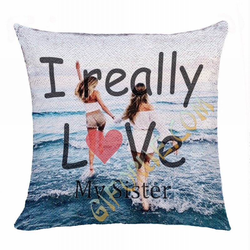 Creative Personalized Sister Gift Image Text Sequin Magic Pillow - Click Image to Close
