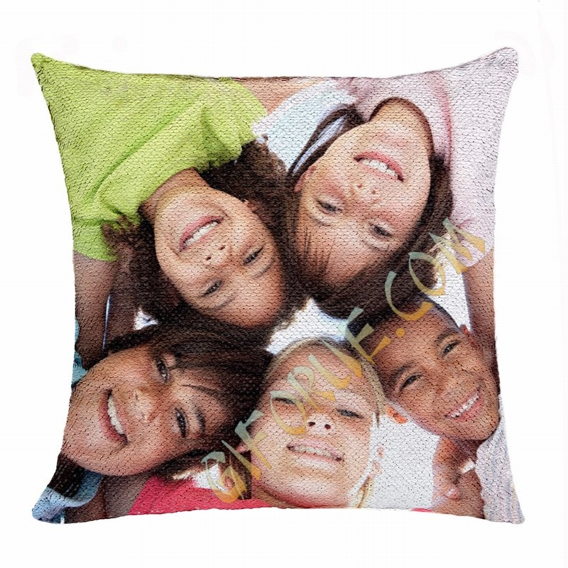 Cute Personalised Sequin Cushion Cover Kid Hide Picture Gift - Click Image to Close