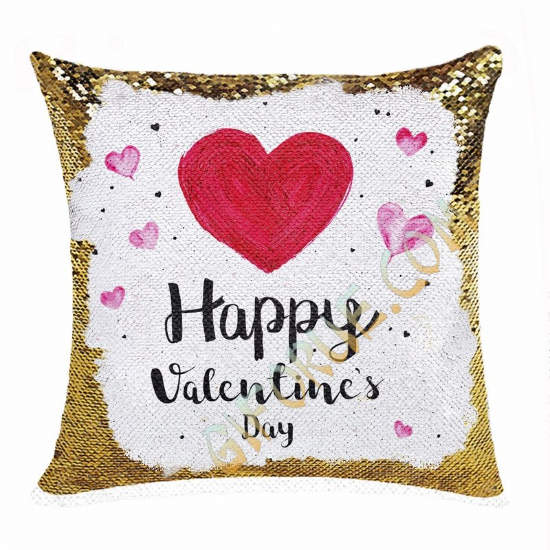 Cute Personalized Valentines Day Gift Picture Text Sequin Pillow - Click Image to Close