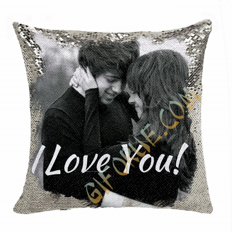 Fashion Personalized Sequin Pillow Couple Photo Text Gift - Click Image to Close