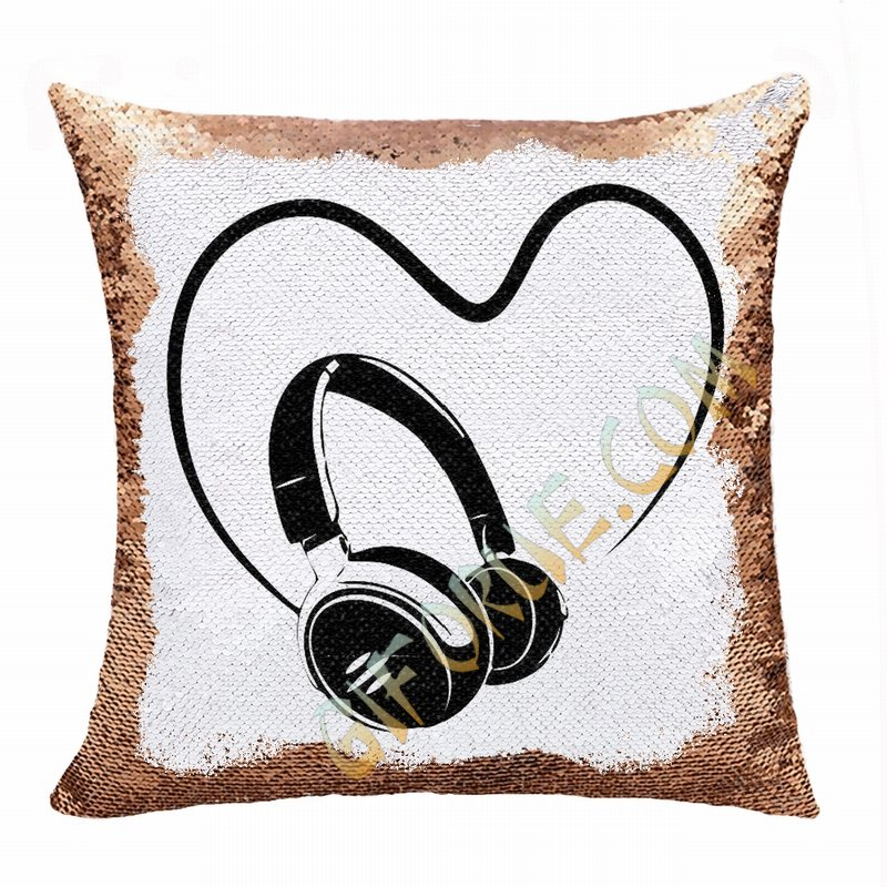 Personalised Love Earphone Gift Image Sequin Cushion Cover - Click Image to Close