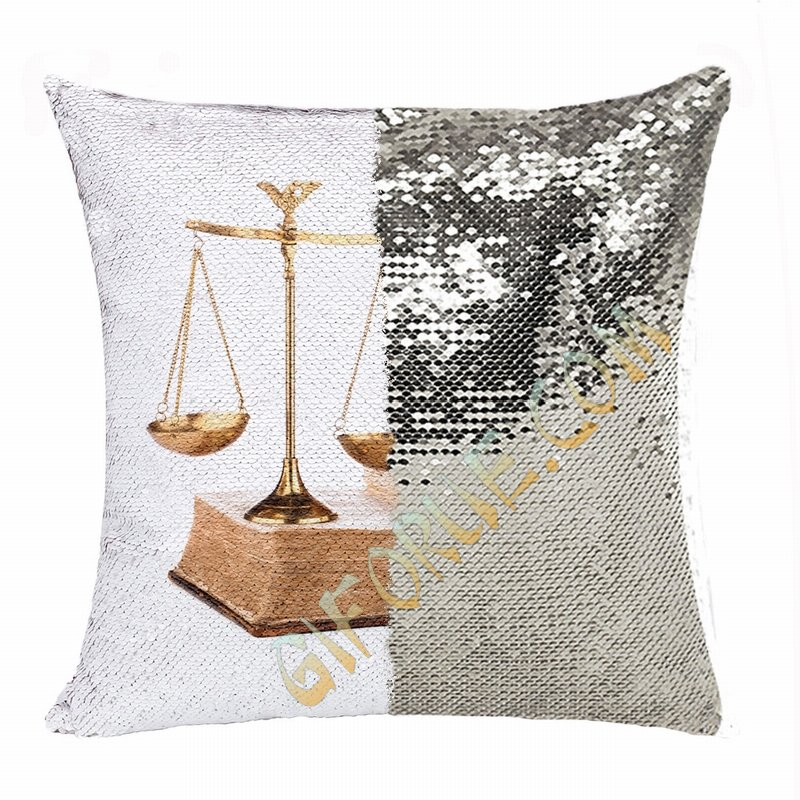 Personalised Picture Text Reversible Sequin Pillow Lawyer Gift - Click Image to Close