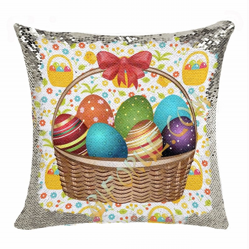 Easter Custom Handmade Gift Eggs Photo Flip Sequin Pillow - Click Image to Close