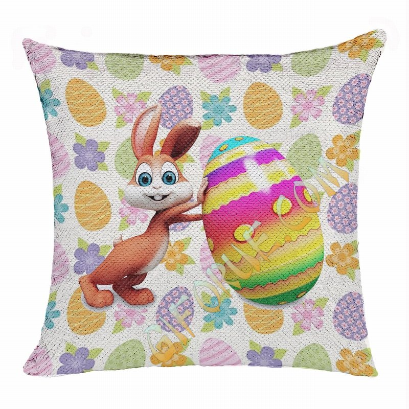 Easter Personalized Photo Perfect Gift Magic Sequin Pillow - Click Image to Close