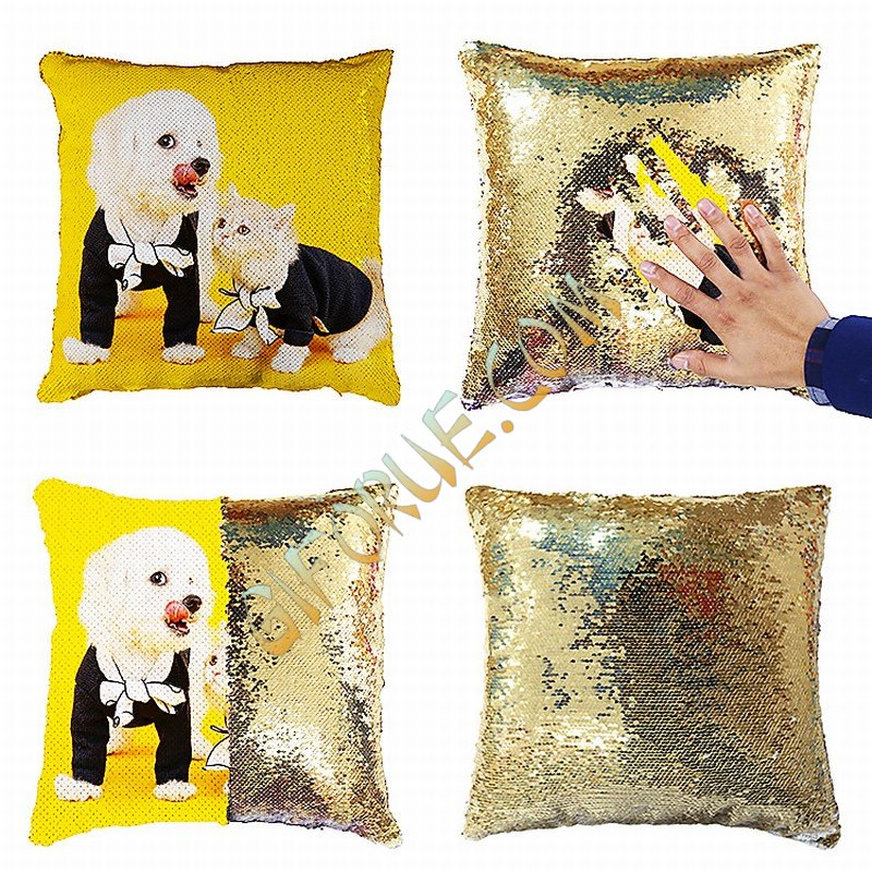 Personalized Sequin Pillow Photo Gift Pet Dog Custom Pillow - Click Image to Close
