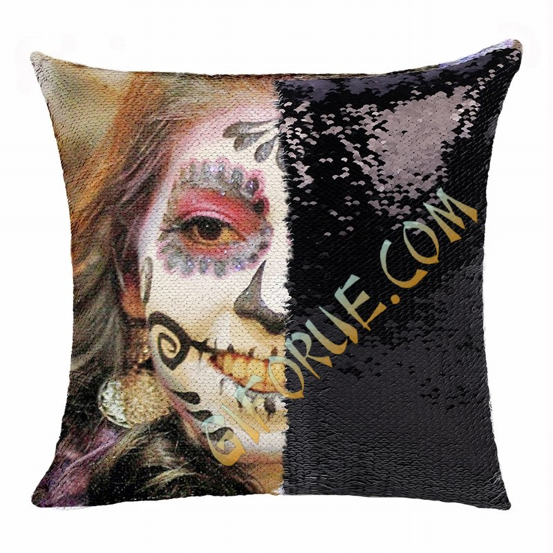 Personalized Scary Halloween Makeup Girl Sequin Magic Pillow - Click Image to Close